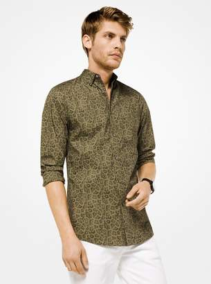 Michael Kors Slim-Fit Leopard Cotton Shirt
