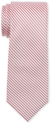 Tommy Hilfiger Red Stripe Seersucker Slim Silk Tie