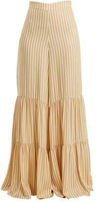 Adriana Degreas - Two Tier Striped Wide Leg Trousers - Womens - Yellow Stripe