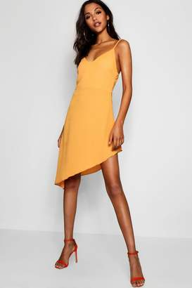 boohoo Asymmetric Plunge Front Cami Dress