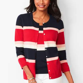 Talbots Charming Cardigan - Three-Quarter Sleeves - Colorblock