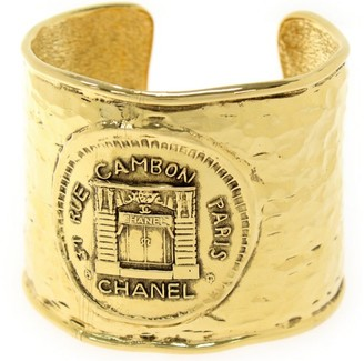 Gold Tone Metal Rue Cambon CC Logo Bangle Bracelet