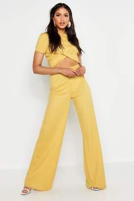 boohoo Tall Linen Look Wide Leg Trouser