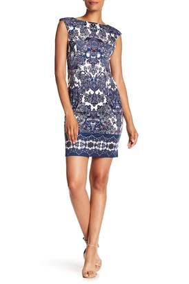 London Times Printed Ponte Dress