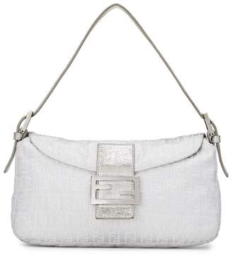 89021b8189ad ... What Goes Around Comes Around · Fendi Metallic Silver Zucchino Fabric  Shoulder Bag