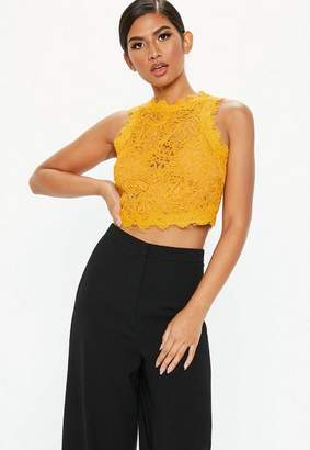 Missguided Mustard Yellow Cornelli Lace Crop Top