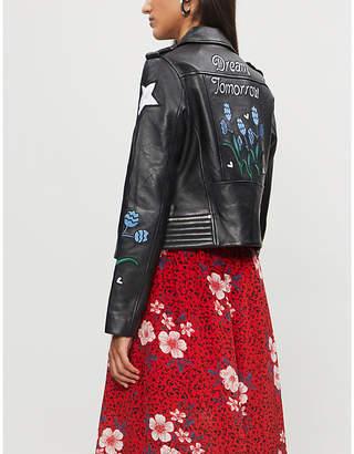 Maje Dream Tomorrow embroidered leather jacket