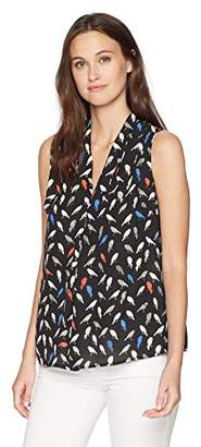 Nine West Women's Bird Printed V Neck Blouse