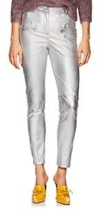 Sies Marjan Women's Brin Metallic Textured-Leather Biker Pants - Silver
