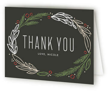 Holiday Wreath Baby Shower Thank You Cards