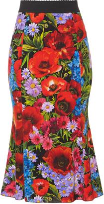 DOLCE & GABBANA Floral-print stretch silk-charmeuse midi skirt $1,475 thestylecure.com