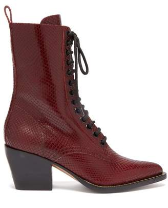 Chloé Snakeskin Effect Lace Up Leather Boots - Womens - Burgundy