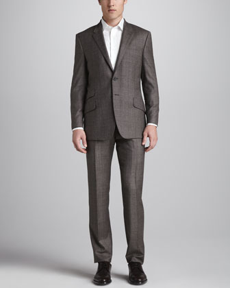 Paul Smith Plaid Single-Breasted Suit, Brown/Red