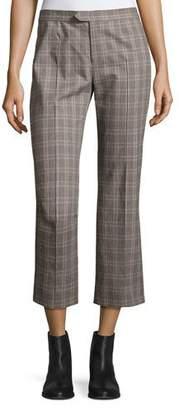Etoile Isabel Marant Nerys Plaid Crop Pants, Gray
