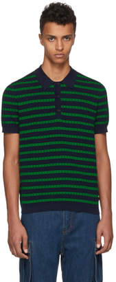 Burberry Green and Navy Striped Polo