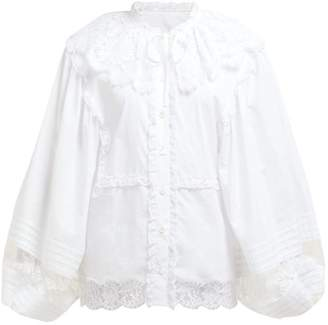 Dolce & Gabbana Lace And Cotton Blend Poplin Blouse - Womens - White