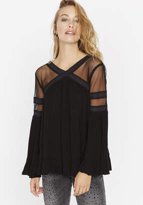 Buffalo David Bitton Lace & Mesh Flowy Top