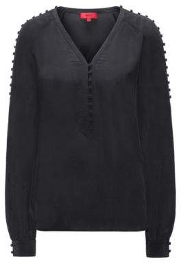 HUGO Boss Buttoned Silk Blouse Emitis 0 Black