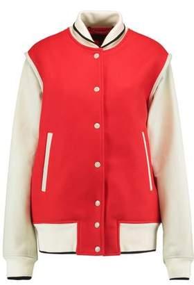 Rag & Bone Edith Wool-Blend Twill And Leather Bomber Jacket