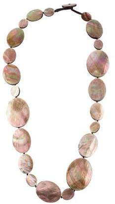 Viktoria Hayman Mother of Pearl Long Shell Disc Necklace