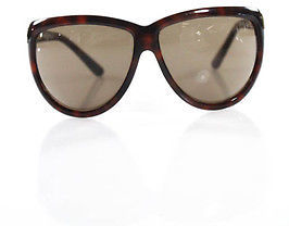 Tom Ford Tom Ford Brown Gold Tone Accented Large Oval Sunglasses