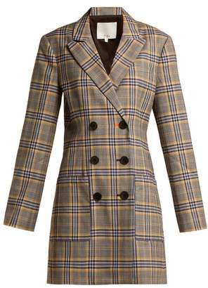 Tibi Lucas Checked Canvas Blazer Dress - Womens - Grey Multi