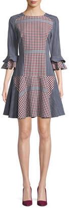 Badgley Mischka Plaid & Striped Combo Flounce Dress
