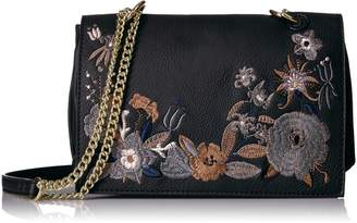 T-Shirt & Jeans Flap Cross Body with Embroidery and Chain Strap Convertible Shoulder Bag, bsh