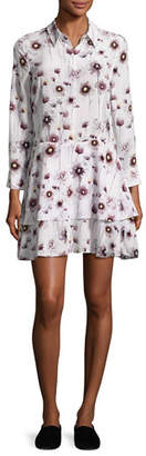 Equipment Natalia Floral Tiered Silk Shirtdress, White $398 thestylecure.com