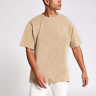 River Island Stone washed Svnth embroidered T-shirt
