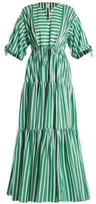 Maison Rabih Kayrouz Tiered Striped Cotton Poplin Dress - Womens - Green Stripe