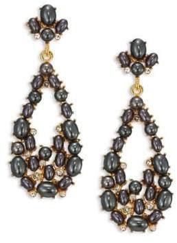 Kenneth Jay Lane Crystal& Faux-Pearl Teardrop Earrings