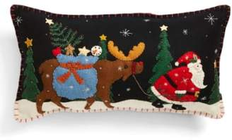 New World Arts 'Santa Walking with Moose' Accent Pillow