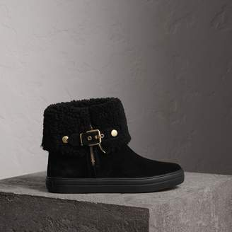 Burberry Shearling-lined Suede Ankle Boots
