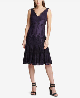 DKNY V-Neck Scalloped Lace Dress
