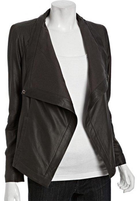 Elie Tahari tusk lambskin leather 'Vanessa' draped jacket