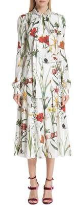 Oscar de la Renta Harvest Floral Silk Twill Dress