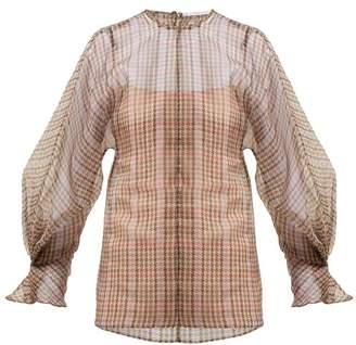 Emilia Wickstead Dalia Houndstooth Silk Tulle Blouse - Womens - Multi