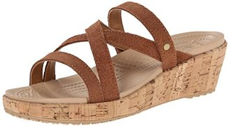 crocs Women's A-Leigh Shimmer Leather Mini Wedge $39.99 thestylecure.com