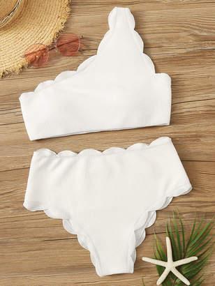 Shein Textured Scalloped Trim One Shoulder Bikini Set