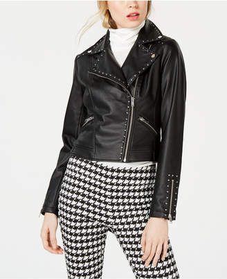 Bar III Studded Faux-Leather Moto Jacket