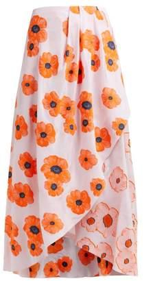 Vika Gazinskaya Draped Floral Fil Coupe Crepe Midi Skirt - Womens - Pink Multi