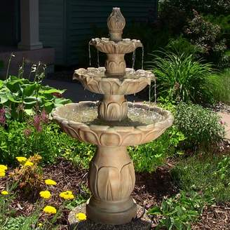 SunnyDaze Decor Polystone Classic Tulip 3 Tiered Outdoor Water Fountain