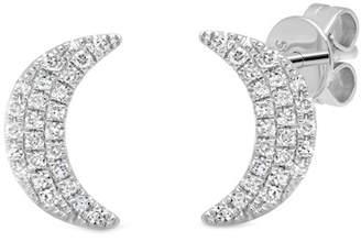 Ron Hami 14K White Gold Diamond Moon Stud Earrings - 0.11 ctw