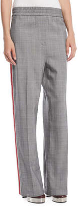Calvin Klein Wide-Leg Check Wool Pull-On Pants w/ Side Stripe