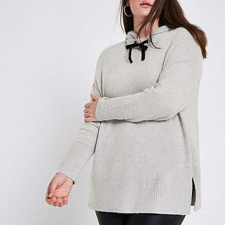 River Island Plus grey knitted hoodie
