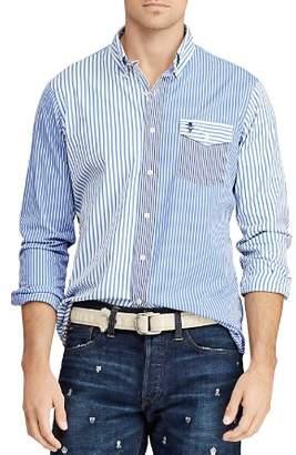 Polo Ralph Lauren Bleeker Mixed-Striped Back-Patch Classic Fit Button-Down Shirt