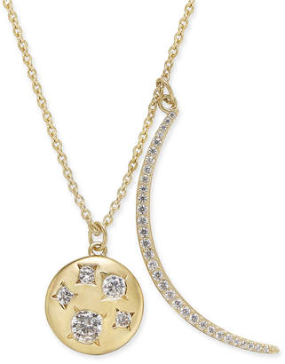 """Danori 18k Gold-Plated Pave Crescent and Crystal Disc Pendant Necklace, 16"""" + 2"""" extender, Created for Macy's"""