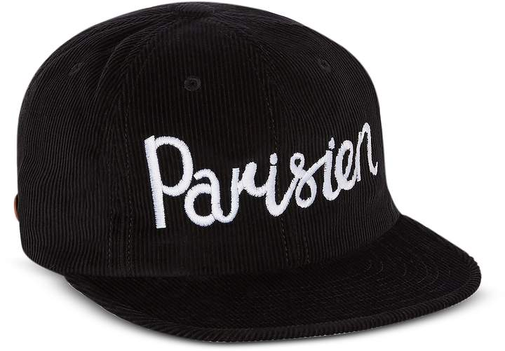 Maison Kitsuné Corduroy Parisien Black Baseball Cap