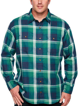 Izod Ls Harbor Twill Woven Mens Long Sleeve Plaid Button-Front Shirt-Big and Tall